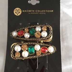 2 new Bronze Crystal & Pearls Hair clips